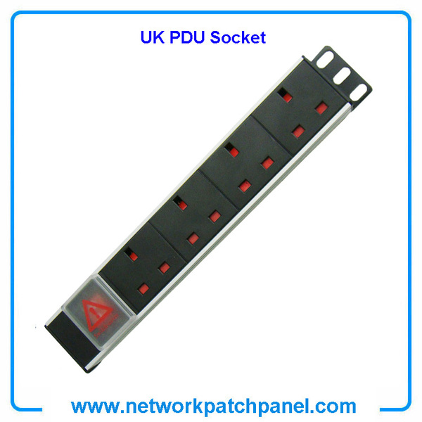 19 inch Standard 4 Gangs 4 Ways British UK PDU Cabinet Sockets With Switch UK Cabinet PDU Manufacturers