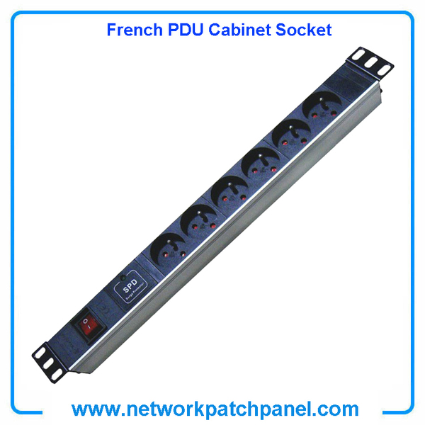 19 inch Standard Rack 6 Gangs 6 Ways French PDU Sockets With Surge Protector