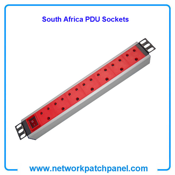 1U 7 Ways South African Switched PDU Sockets Power Distribution Units