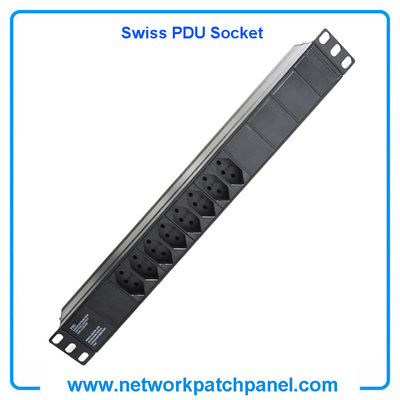 19 Inch 8 Gangs 8 Ways 8 Ports Swiss PDU Socket Power Distribution Unit Without Switch