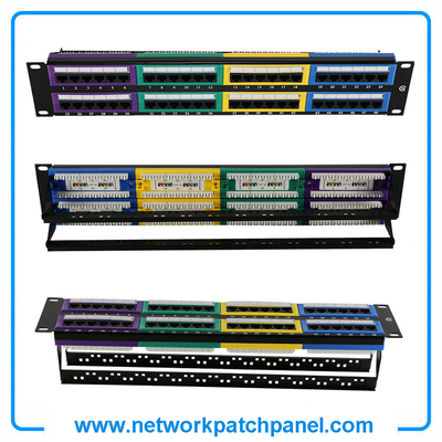 48 Ports Cat5e Colors Horizontal Network Patch Cables Leads Panel, Network Patch Cords Panel