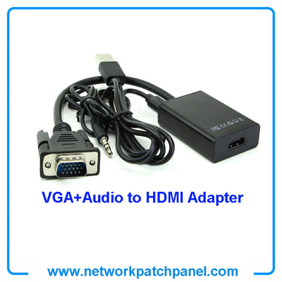 VGA Male To HDMI Output 1080P HD +Audio TV AV HDTV Video Cable Converter Adapter for HDTV
