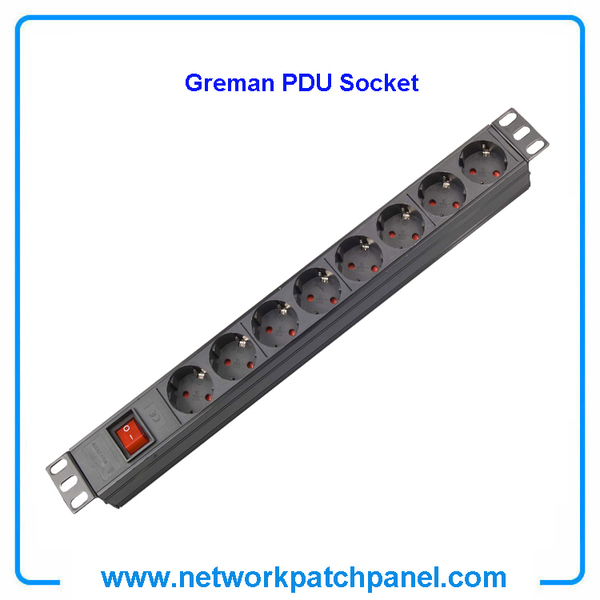 19 inch Standard Rack 8 Gangs 8 Ways Overload Protection German PDU Sockets for Cabinet