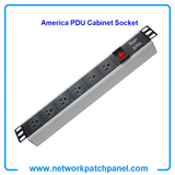 19 inch Standard Rack 6 Outlets 6 Gangs 6 Ways USA American PDU Sockets for Cabinet With Switch