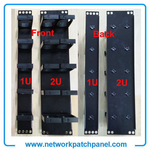 China 19 Inches 1U 2U Plastic Cable Management Panel Bar With 5 Rings