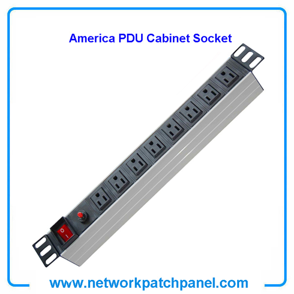 19 inch Standard Rack 8 Outlets 8 Gangs 8 Ways USA American PDU Cabinet Sockets With Switch and Overload Protection