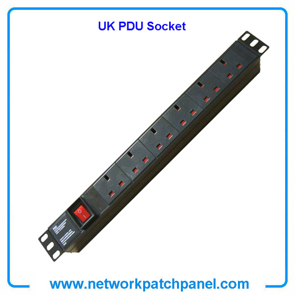 19 inch Standard 6 Gangs 6 Ways British UK PDU Cabinet Sockets with Switch