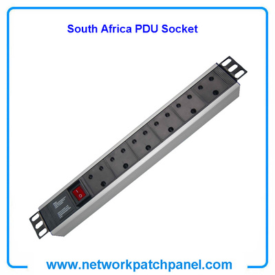 19 inch Standard Switched Rack 6 Outlets 6 Gangs 6 Ways South Africa PDU Sockets for Cabinet