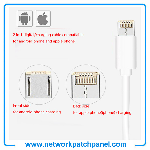 1m 2 In 1 USB Digital and Charger Cable for Android and Apple Iphone