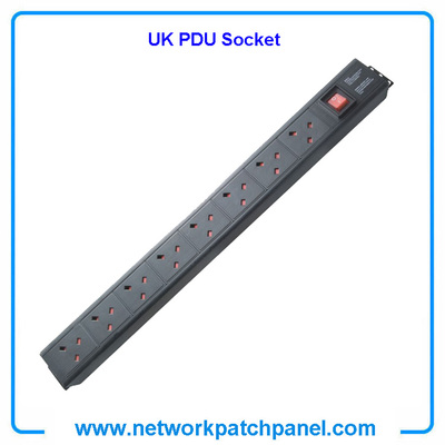 19 inch Standard 8 Gangs 8 Ways British UK PDU Cabinet Sockets with Switch