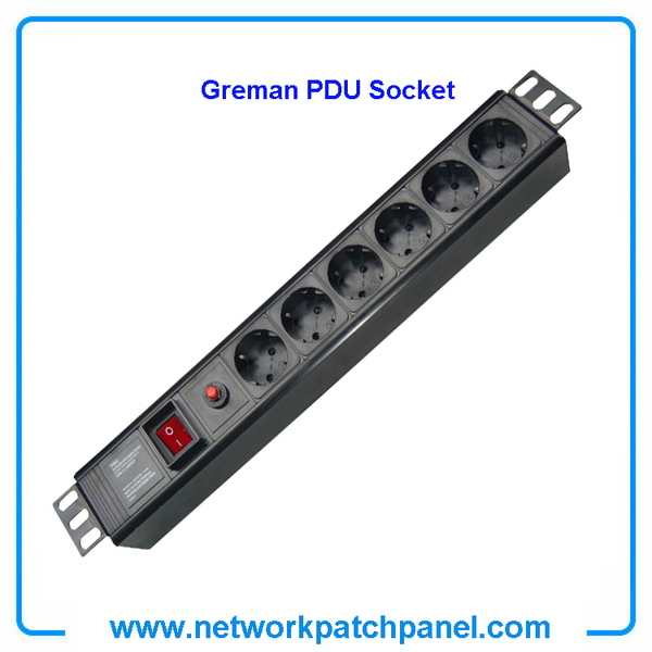 19 inch Standard Rack 6 Gangs 6 Ways Overload Protection German PDU Sockets for Cabinet