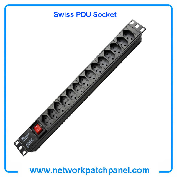 19 Inch 14 Gangs 14 Ways 14 Ports Swiss PDU Socket Power Distribution Unit With Switch