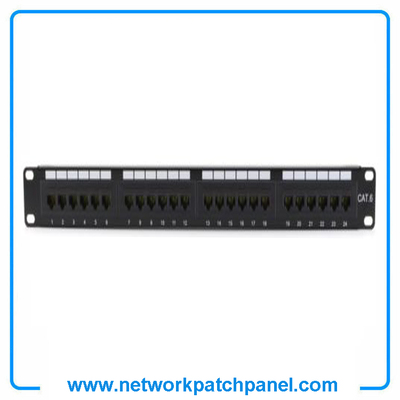 "China 24 Port Cat6 RJ45 Ethernet Patch Panel 1U 19""Rack Mountable Suppliers"