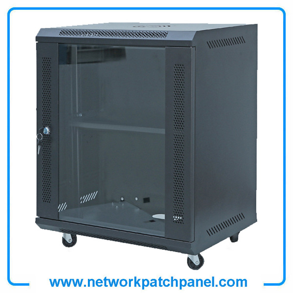 19 Inch White Black Wall Mounted 12U Small Portable Office Network Racks Network Cabinets With Glass Front Door