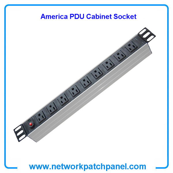 19 inch Standard Rack 9 Outlets 9 Gangs 9 Ways USA American PDU Cabinet Sockets With Overload Protection