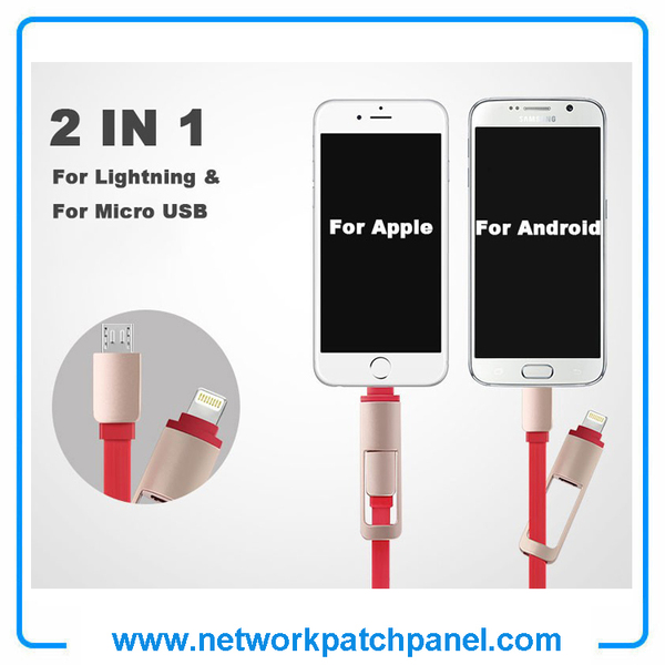1m 2 In 1 USB Retractable Android Apple Iphone Charger Cable