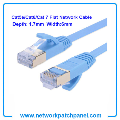 Cat5E Cat6 Cat7 Blue White Black RJ45 Ultra-Thin Flat Ethernet Patch Cable Networking Cables