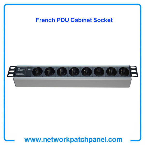 19 inch Standard Rack 8 Gangs 8 Ways French PDU Cabinet Sockets