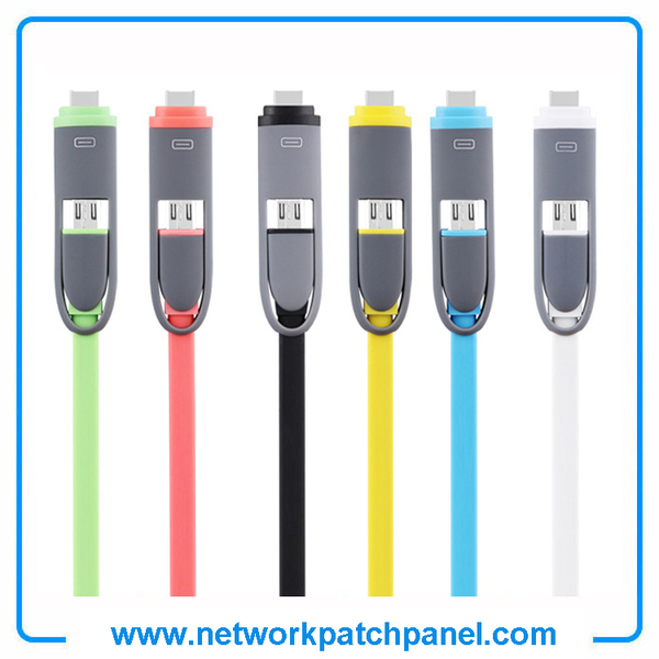 2 in 1 USB Android Apple Iphone Charger Cable Flat