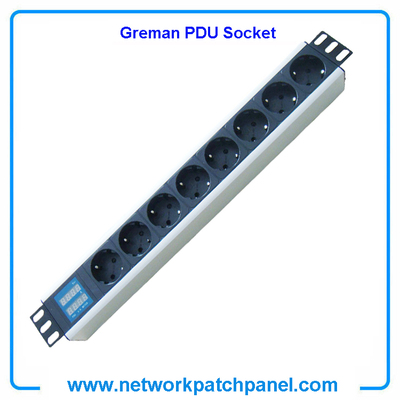 8 Ways German PDU Power Strip Intellignet PDU Socket With Current and Voltage Dual Digital Display