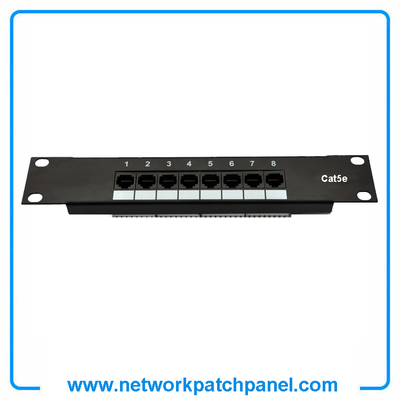 China Cat5e RJ45 1U Network Ethernet Patch Panel 8 Ports Manufacturers